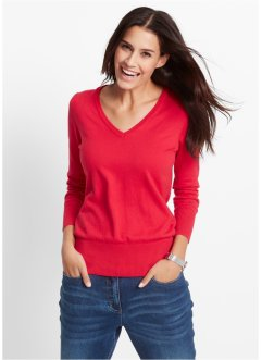 Pull en maille fine, bpc bonprix collection, rouge