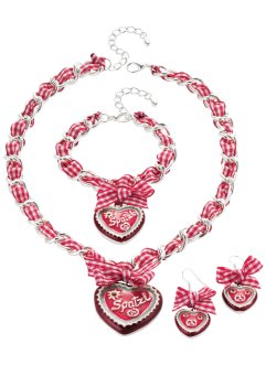Parure Spatzl, bpc bonprix collection, collier blanc/rouge
