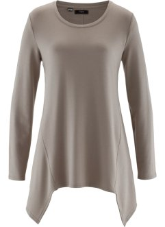 Sweat-shirt finition base en pointes manches longues, bpc bonprix collection, taupe