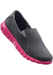 Slippers, bpc bonprix collection, gris/fuchsia foncé