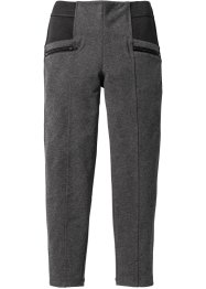 Pantalon extensible à empiècements et zips, bpc bonprix collection, anthracite chiné/noir