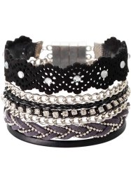 Bracelet multi-rangs, bpc bonprix collection, noir/argenté