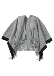 Poncho en maille avec bordure contrastante, bpc bonprix collection, gris clair/anthracite