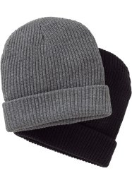 Bonnet en tricot homme (Ens. 2 pces.), bpc bonprix collection, noir+gris