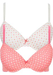 Lot de 2 soutiens-gorge push-up, bpc bonprix collection, rose à pois + blanc cassé à pois