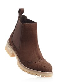 Bottines Chelsea en cuir, bpc bonprix collection, marron foncé
