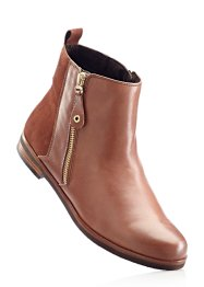 Bottines confortables en cuir, bpc selection, marron cognac