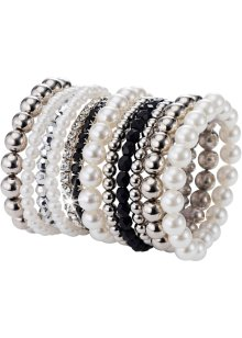 Set de bracelets Perles (12 pces.), bpc bonprix collection, noir/argenté