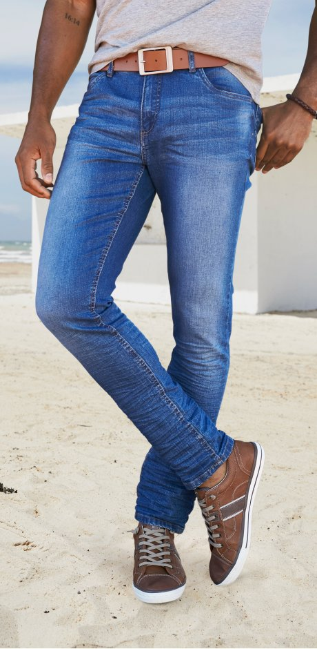 Homme - Jean extensible Slim Fit Tapered - bleu used