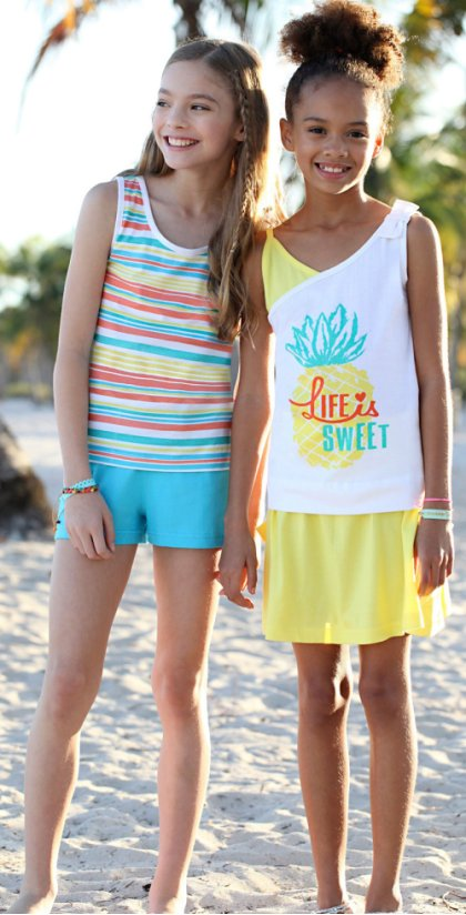 Enfant - Tops + short + jupe (Ens. 4 pces.) - blanc/multicolore/citron