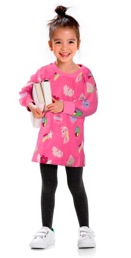 Enfant - Robe sweat-shirt - rose flamant imprimé
