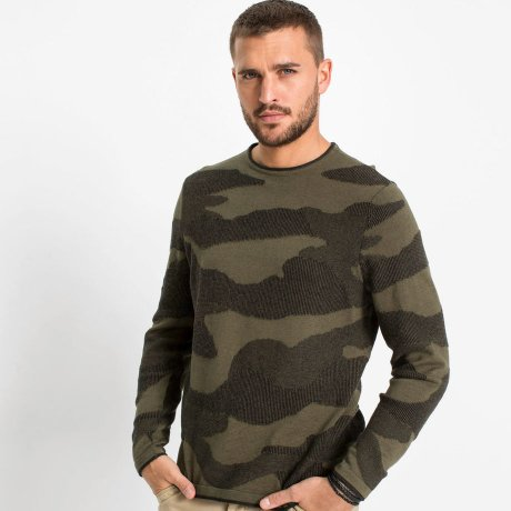 Homme - Pull - olive foncé camouflage