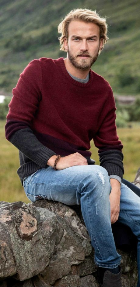 Homme - Pull col rond Regular Fit - rouge/bordeaux/anthracite