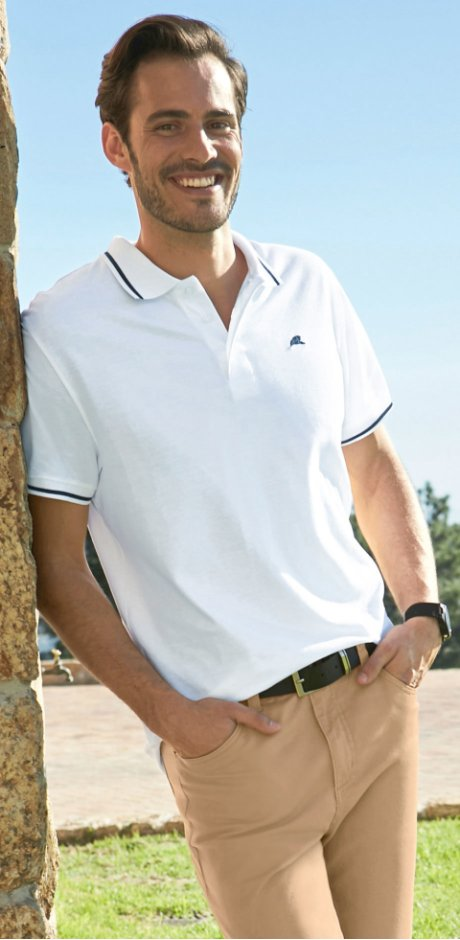 Homme - Polo regular fit - blanc
