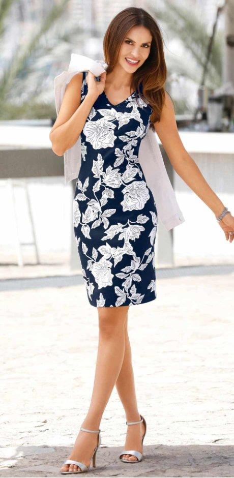 03073c6f32 Femme - Robe matière T-shirt - bleu foncé/blanc imprimé