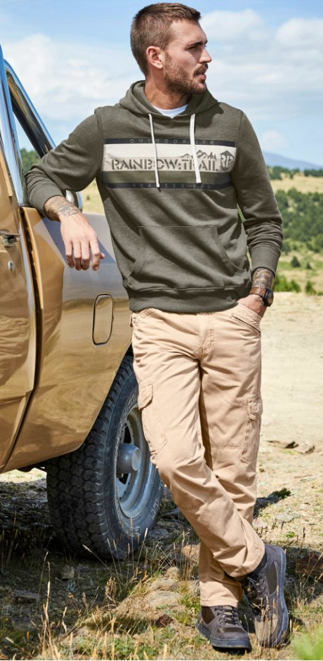 Homme - Sweat-shirt à capuche Slim Fit - olive chiné