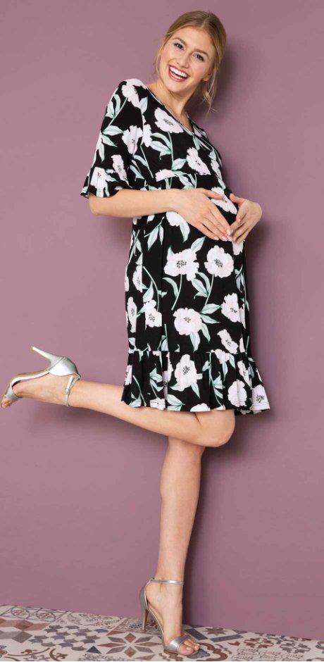 5864b741b6a Femme - Robe de grossesse à imprimé floral - noir à fleurs
