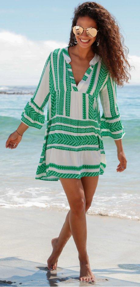 94c493c0a5e Errichtung Heisenberg - Robe courte   MUST-HAVE - vert pelouse blanc à motif