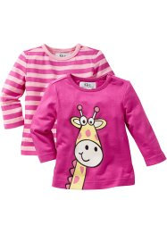 Lot de 2 T-shirts bébé à manches longues en coton bio, bpc bonprix collection, fuchsia/rose