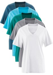 Lot de 5 t-shirts avec col en V, bpc bonprix collection