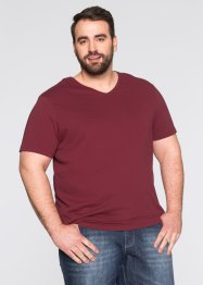 Lot de 3 T-shirts col en V Regular Fit, bpc bonprix collection, bordeaux+vert foncé+blanc
