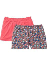 Lot de 2 shorts en coton bio, bpc bonprix collection, fuchsia clair/marron moyen
