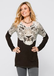 Pull long, bpc selection, marron foncé/taupe