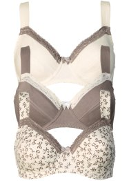 Lot de 3 soutiens-gorge, bpc bonprix collection, imprimé+taupe+champagne