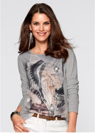 T-shirt long, bpc selection, gris clair chiné