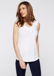 Top avec pierres fantaisie, bpc selection, blanc
