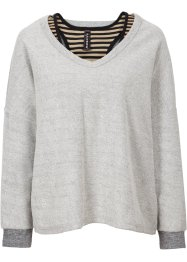Sweat-shirt avec top, RAINBOW, gris clair/noir/new beige rayé
