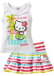Top + jupe (Ens. 2 pces.), Hello Kitty, blanc rayé