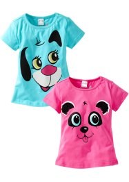 Lot de 2 T-shirts, bpc bonprix collection, rose/bleu ciel