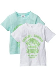 Lot de 2 T-shirts, bpc bonprix collection, menthe pastel+blanc