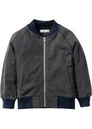 Gilet sweat-shirt, bpc bonprix collection, anthracite chiné/bleu foncé