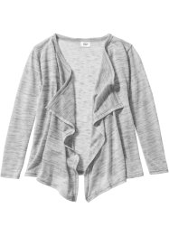 Cardigan portefeuille, bpc bonprix collection, blanc cassé/gris clair chiné