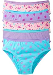 Lot de 5 slips fille, bpc bonprix collection, bleu ciel/mauve/rose poudré imprimé