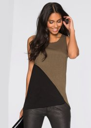 Top-blouse, BODYFLIRT, olive/noir
