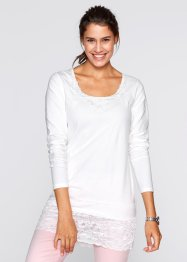 T-shirt long, manches longues, bpc bonprix collection, blanc cassé