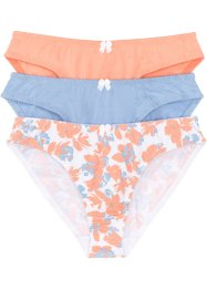 Lot de 3 slips, bpc bonprix collection, imprimé+bleu+papaye