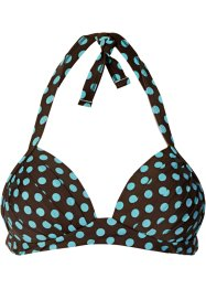 Haut de bikini push-up, bpc bonprix collection, marron foncé/bleu ciel à pois