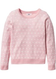 Pull à pois, bpc bonprix collection, rose poudré/blanc cassé à pois