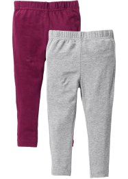 Lot de 2 leggings, bpc bonprix collection, gris clair chiné+prune
