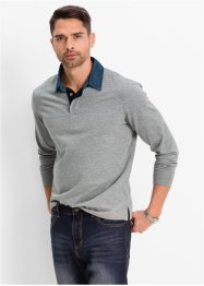 Polo manches longues Regular Fit, bpc bonprix collection, gris clair chiné