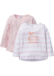 Lot de 2 T-shirts manches longues, bpc bonprix collection, blanc rayé+rose dragée