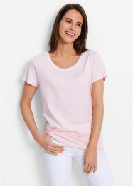 Lot de 5 t-shirts avec col rond, bpc bonprix collection, rose nacré/bleu nacré/anthracite chiné/blanc/noir