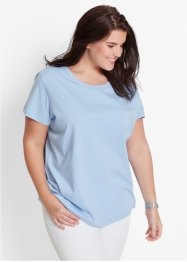 Lot de 5 t-shirts avec col rond, bpc bonprix collection, rose nacre/bleu nacre/anthracite chiné/blanc/noir