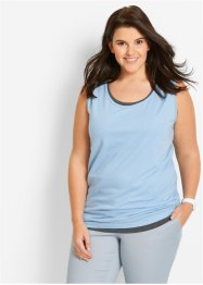 Lot de 5 tops longs, bpc bonprix collection, rose nacré/bleu nacré/anthracite chiné/blanc/noir