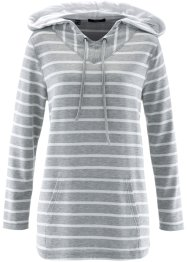 Sweat-shirt long manches longues, bpc bonprix collection, gris clair chiné rayé