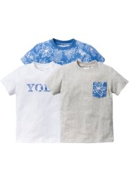 Lot de 3 T-shirts, bpc bonprix collection, bleu bleached+blanc+écru chiné
